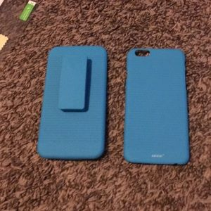Accessories - Blue hard case for iPhone 6/6s with belt clip